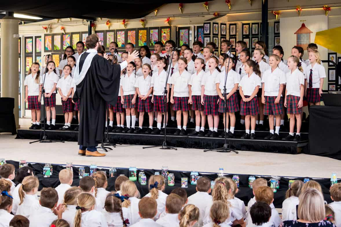The Junior School choir sings at the 2021 Foundation Day service
